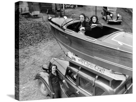 Chris-Craft Girls with Two Classics--Stretched Canvas Print