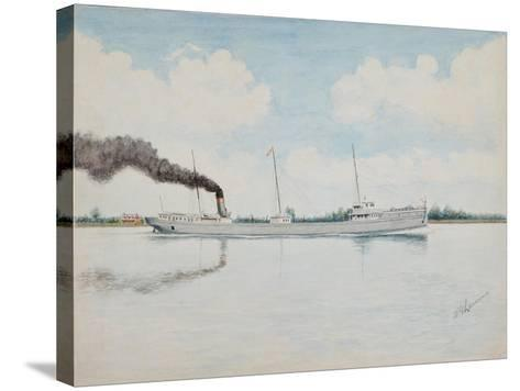 American Cargo Ship, William. H. Gratwick, Built 1893 N.Y.C. and H.R.RR Line-William Gardham Larmour-Stretched Canvas Print