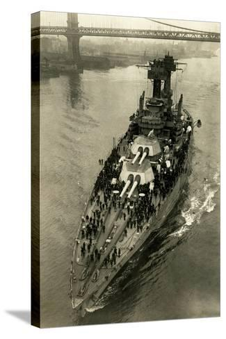 Battleship Maryland in the East River-Edwin Levick-Stretched Canvas Print
