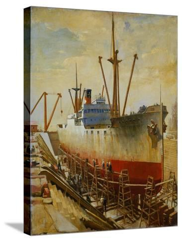 Mallory Line Freighter Mallemak in Dry Dock-Thomas C. Skinner-Stretched Canvas Print