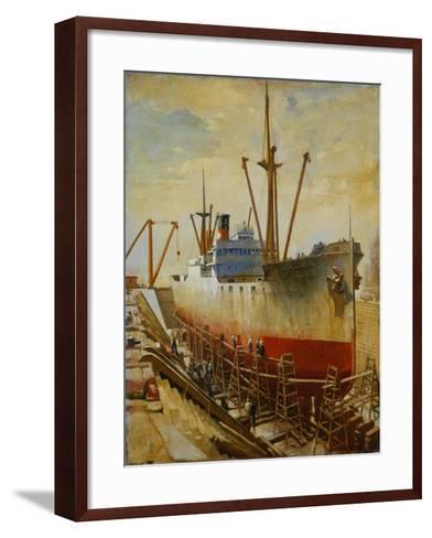 Mallory Line Freighter Mallemak in Dry Dock-Thomas C. Skinner-Framed Art Print