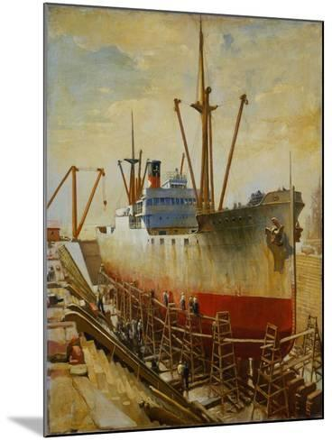 Mallory Line Freighter Mallemak in Dry Dock-Thomas C. Skinner-Mounted Giclee Print