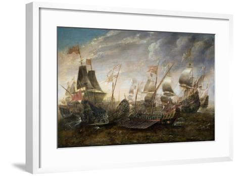 Battle Between the Spanish and Barbary Pirates-Sebastian D. Castro-Framed Art Print