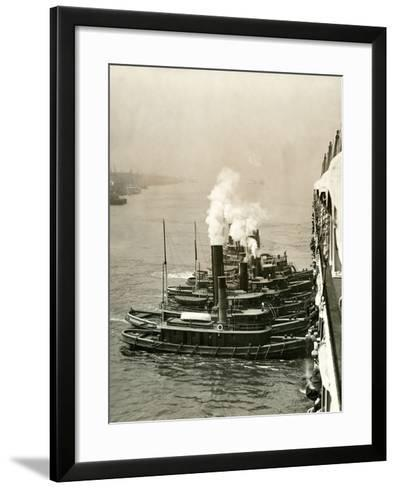 Tugboats Moving the Steamship Mutual-Edwin Levick-Framed Art Print