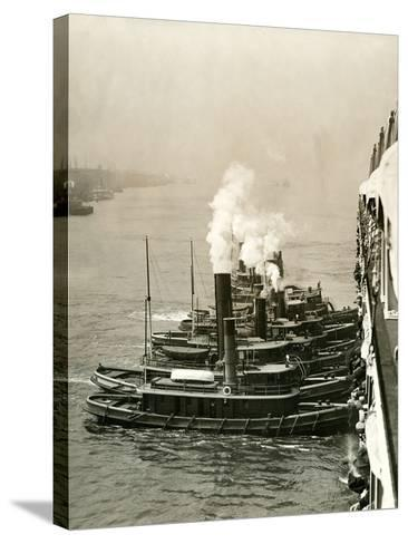 Tugboats Moving the Steamship Mutual-Edwin Levick-Stretched Canvas Print