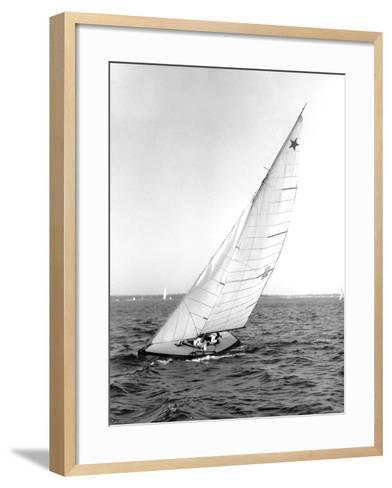 Star Class Boat Sail Number 1518 Heeled to Starboard-Edwin Levick-Framed Art Print