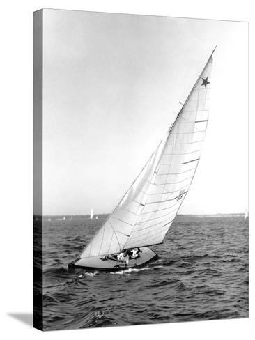 Star Class Boat Sail Number 1518 Heeled to Starboard-Edwin Levick-Stretched Canvas Print