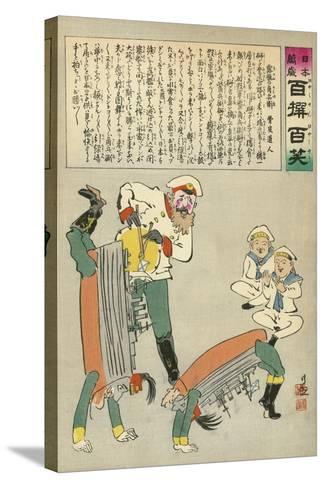 Russian Oshishi Acrobatic Street Dancer Master Entertains the Children of Japan-Kobayashi Kiyochika-Stretched Canvas Print