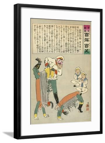 Russian Oshishi Acrobatic Street Dancer Master Entertains the Children of Japan-Kobayashi Kiyochika-Framed Art Print