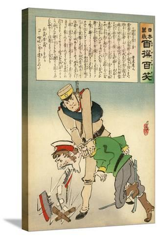 Japan Forcing Russia to Disgorge Her Brave Threats-Kobayashi Kiyochika-Stretched Canvas Print