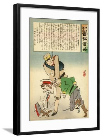 Japan Forcing Russia to Disgorge Her Brave Threats-Kobayashi Kiyochika-Framed Art Print