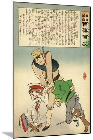 Japan Forcing Russia to Disgorge Her Brave Threats-Kobayashi Kiyochika-Mounted Giclee Print