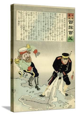 Russian Officer and a Japanese Officer Standing on a Large Map-Kobayashi Kiyochika-Stretched Canvas Print