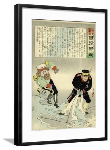 Russian Officer and a Japanese Officer Standing on a Large Map-Kobayashi Kiyochika-Framed Art Print