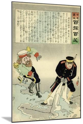 Russian Officer and a Japanese Officer Standing on a Large Map-Kobayashi Kiyochika-Mounted Giclee Print