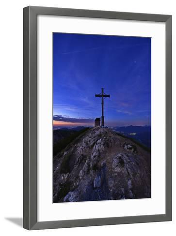 Peak Cross and Chapel at Geigelstein Mountain, Dusk-Stefan Sassenrath-Framed Art Print