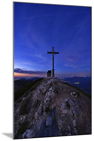 Peak Cross and Chapel at Geigelstein Mountain, Dusk-Stefan Sassenrath-Mounted Photographic Print