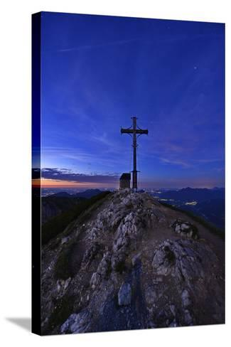 Peak Cross and Chapel at Geigelstein Mountain, Dusk-Stefan Sassenrath-Stretched Canvas Print