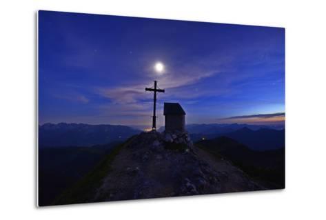 Peak Cross and Chapel at Geigelstein Mountain, Dusk with Full Moon-Stefan Sassenrath-Metal Print
