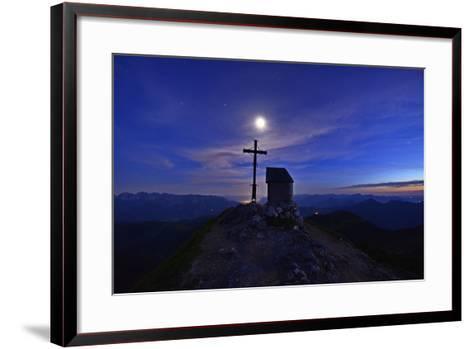 Peak Cross and Chapel at Geigelstein Mountain, Dusk with Full Moon-Stefan Sassenrath-Framed Art Print