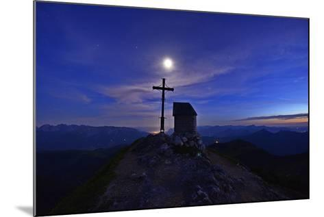 Peak Cross and Chapel at Geigelstein Mountain, Dusk with Full Moon-Stefan Sassenrath-Mounted Photographic Print