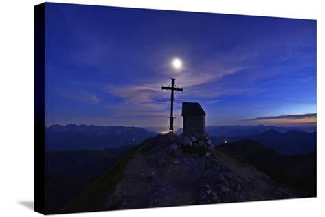 Peak Cross and Chapel at Geigelstein Mountain, Dusk with Full Moon-Stefan Sassenrath-Stretched Canvas Print