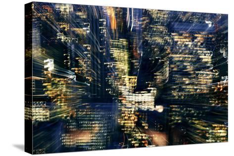 Manhattan at Night, Lights, Abstract, Artistic, New York City, Usa- Skaya-Stretched Canvas Print