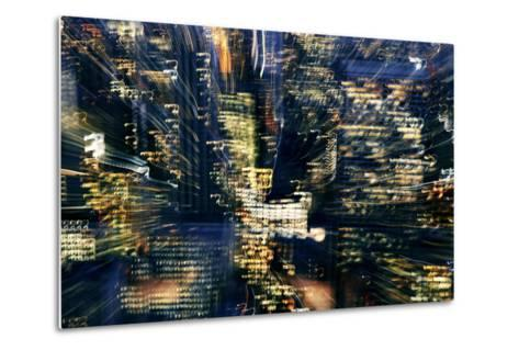 Manhattan at Night, Lights, Abstract, Artistic, New York City, Usa- Skaya-Metal Print