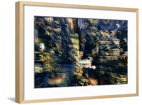 Manhattan at Night, Lights, Abstract, Artistic, New York City, Usa- Skaya-Framed Art Print