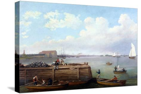 View of the Philadelphia Navy Yard-Thomas Birch-Stretched Canvas Print