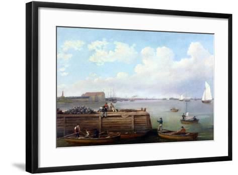 View of the Philadelphia Navy Yard-Thomas Birch-Framed Art Print