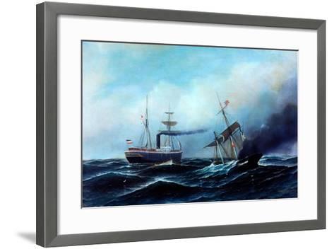 Steamship Neckar Rescuing Crew of Burning Vessel-Antonio Jacobsen-Framed Art Print
