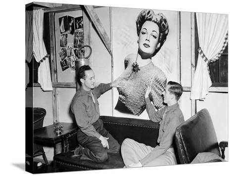 Officers Admiring an Unknown Movie Star- HRPE-Stretched Canvas Print