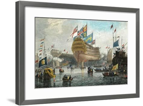 Launch of the Nelson, at Woolwich, July 4th 1814-L. Clennell-Framed Art Print