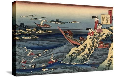 Pearl Divers (Sangi Takamura)-Hokusai Katsushika-Stretched Canvas Print