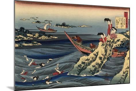 Pearl Divers (Sangi Takamura)-Hokusai Katsushika-Mounted Giclee Print