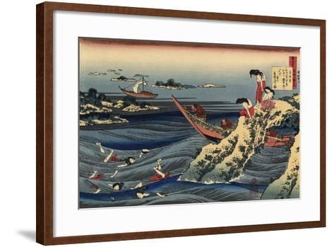 Pearl Divers (Sangi Takamura)-Hokusai Katsushika-Framed Art Print