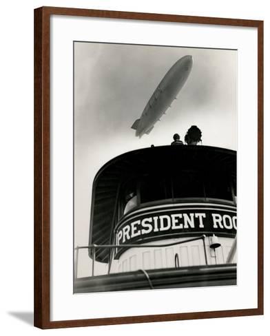 Airship Akron over Ferryboat President Roosevelt-P.L. Sperr-Framed Art Print
