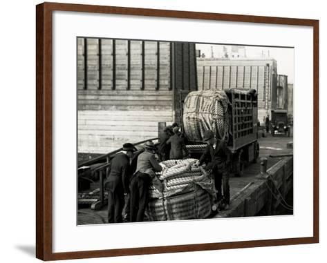 Men on Pier with Hawsers-Edwin Levick-Framed Art Print