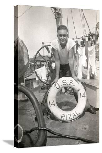 Sailor on the Deck of the Uss Rizal--Stretched Canvas Print