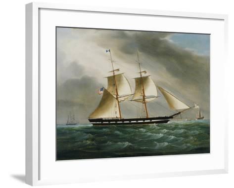 Unidentified American Brig in Chinese Waters--Framed Art Print