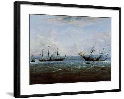 Uss Kearsarge and Css Alabama Off Cherbourg, France-Thomas Palmer Moses-Framed Art Print