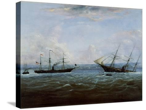 Uss Kearsarge and Css Alabama Off Cherbourg, France-Thomas Palmer Moses-Stretched Canvas Print
