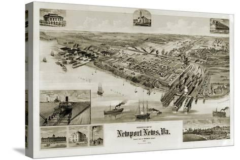 A Perspective Map of Newport News, Virginia--Stretched Canvas Print