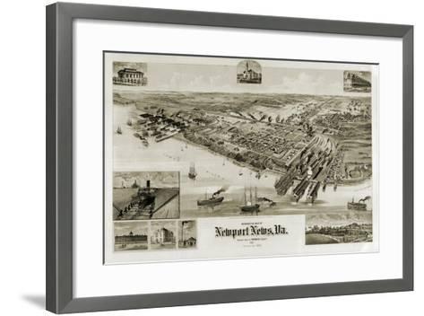 A Perspective Map of Newport News, Virginia--Framed Art Print