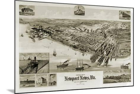A Perspective Map of Newport News, Virginia--Mounted Giclee Print