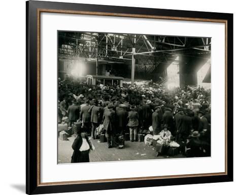 Steamer Passengers Waiting in Dock Building--Framed Art Print