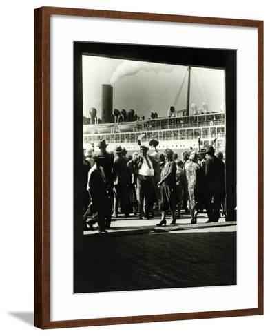 Crowd at a Steamship Departure-Edwin Levick-Framed Art Print