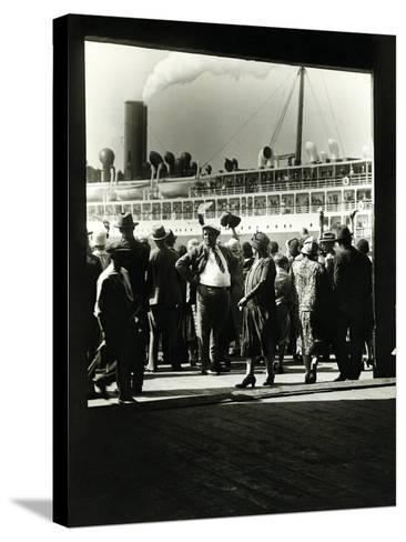 Crowd at a Steamship Departure-Edwin Levick-Stretched Canvas Print