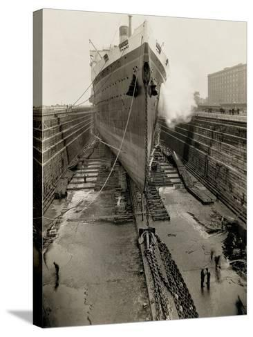 Majestic in Dry Dock-Edwin Levick-Stretched Canvas Print